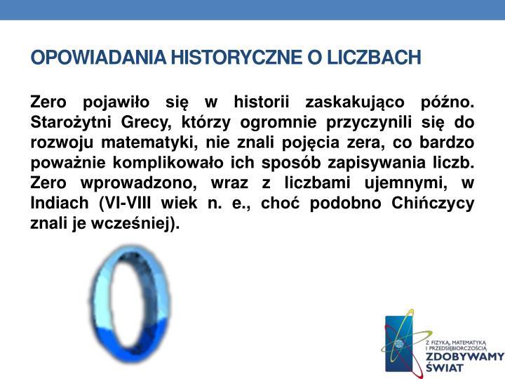 Opowiadania historyczne o liczbach