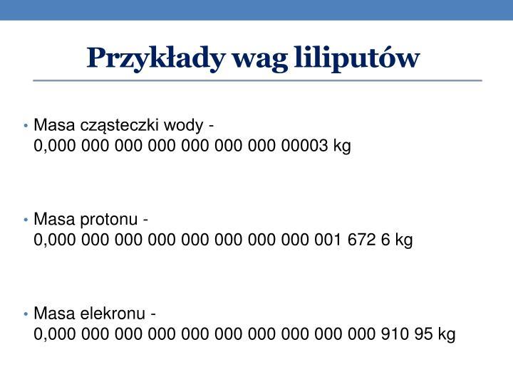 Przykłady wag liliputów
