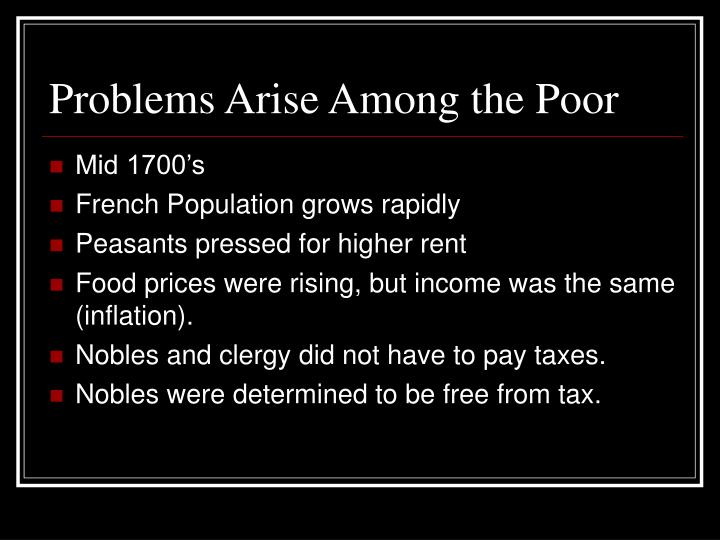 Problems Arise Among the Poor