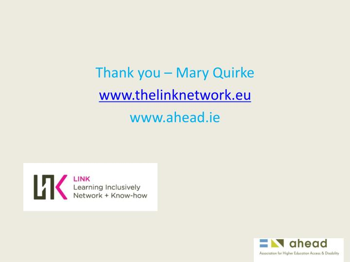 Thank you – Mary Quirke