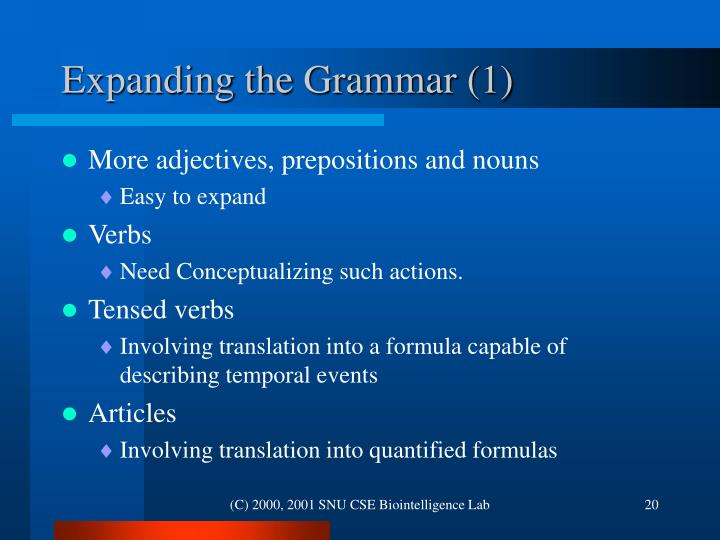 Expanding the Grammar (1)