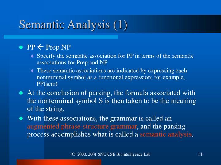Semantic Analysis (1)