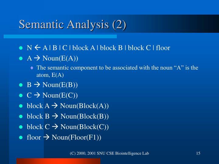 Semantic Analysis (2)