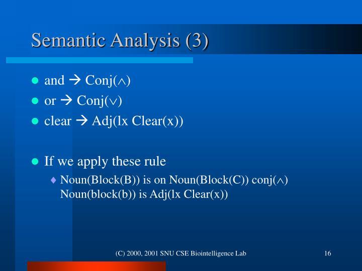 Semantic Analysis (3)