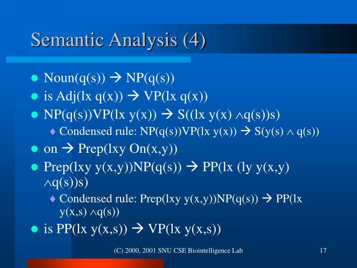 Semantic Analysis (4)