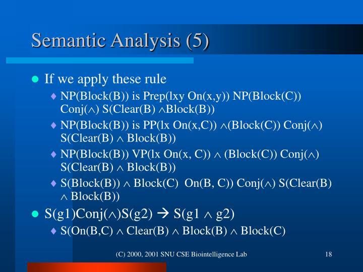 Semantic Analysis (5)