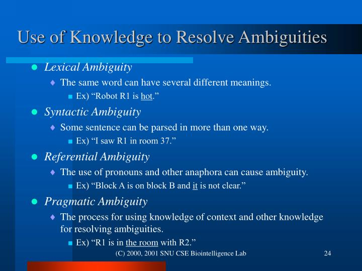 Use of Knowledge to Resolve Ambiguities