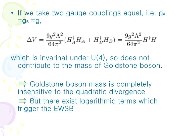If we take two gauge couplings equal, i.e. g