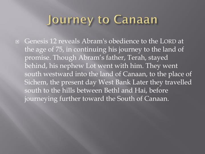 Journey to Canaan