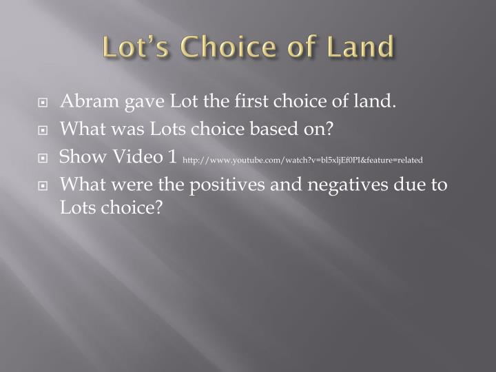 Lot's Choice of Land