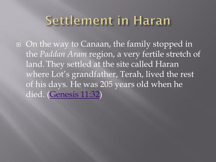 Settlement in Haran