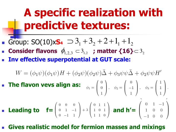 A specific realization with predictive textures: