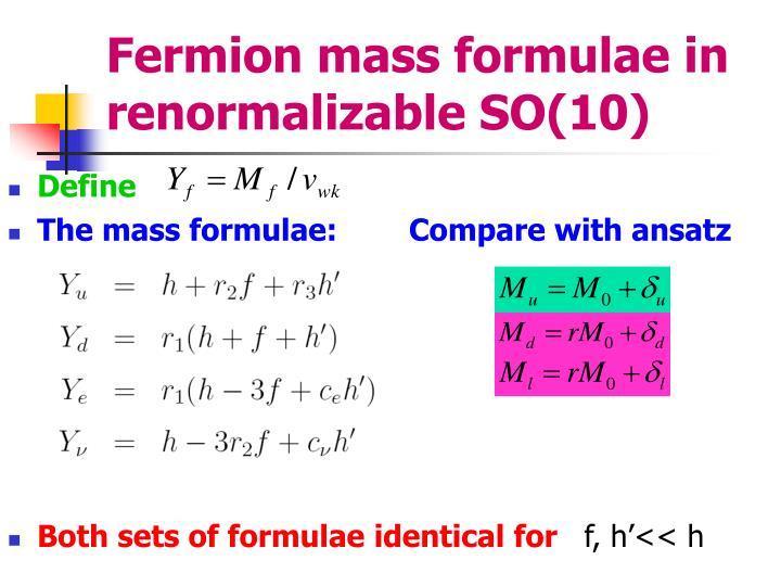 Fermion mass formulae in renormalizable SO(10)