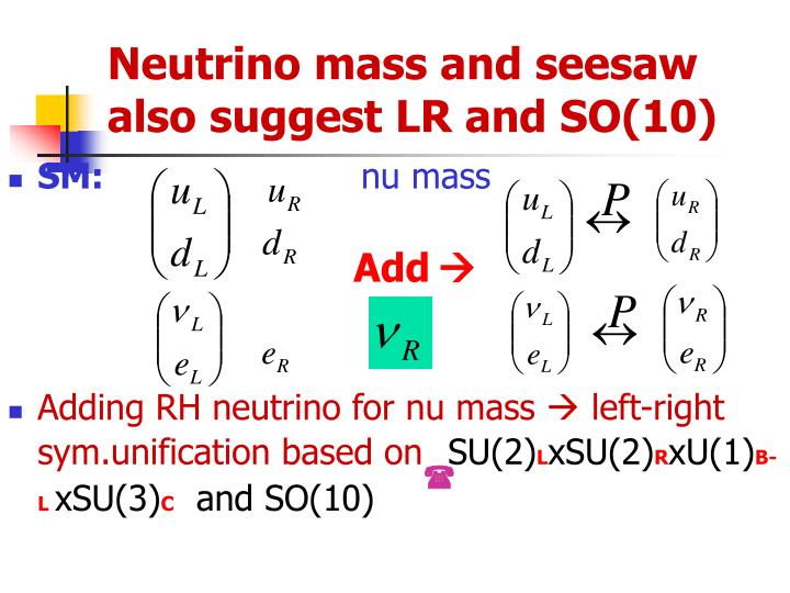Neutrino mass and seesaw also suggest LR and SO(10)
