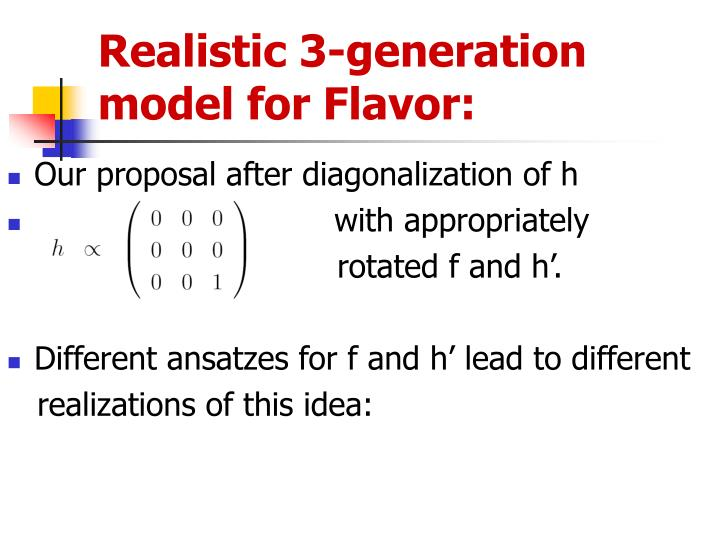 Realistic 3-generation model for Flavor: