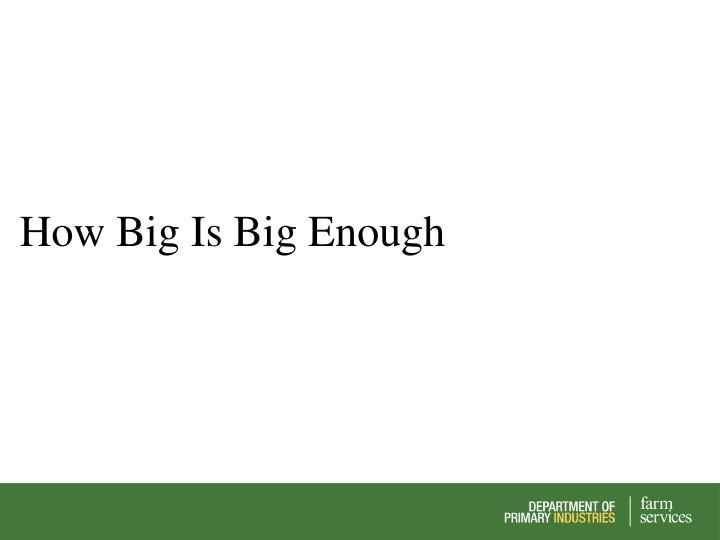 How Big Is Big Enough