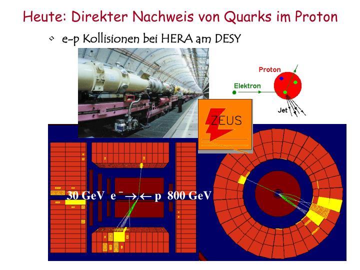 Heute: Direkter Nachweis von Quarks im Proton