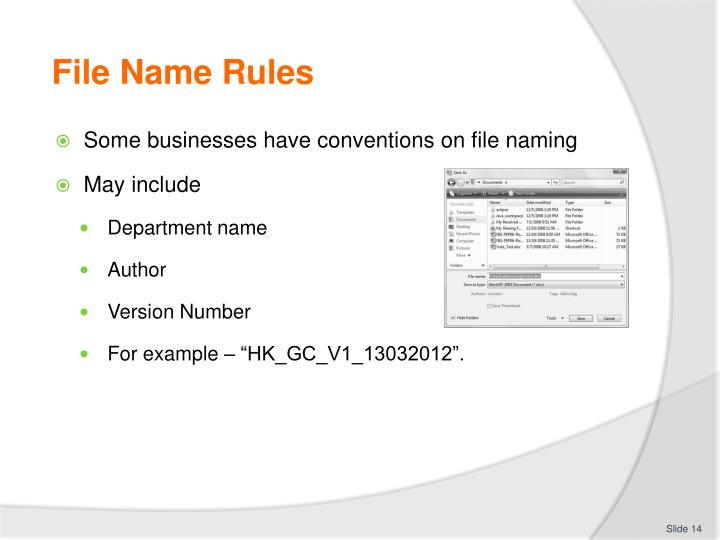 File Name Rules