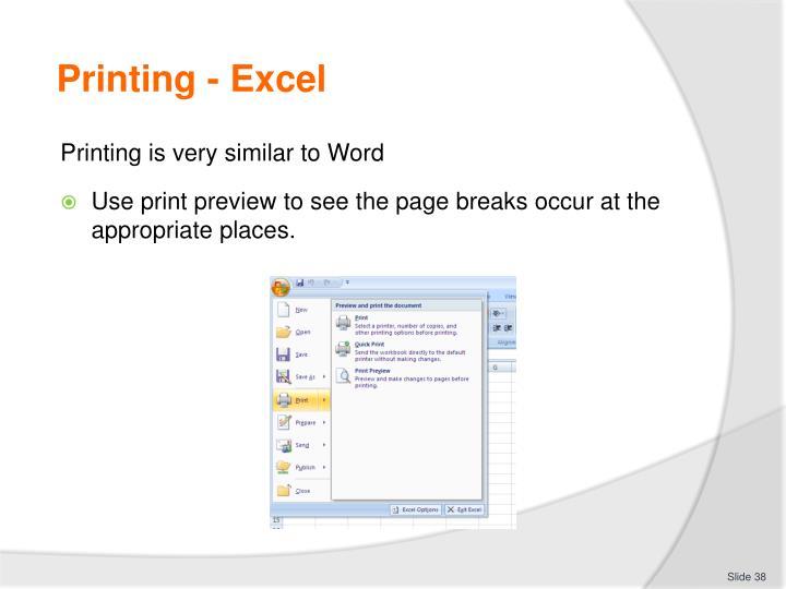 Printing - Excel