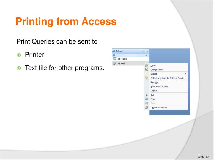 Printing from Access