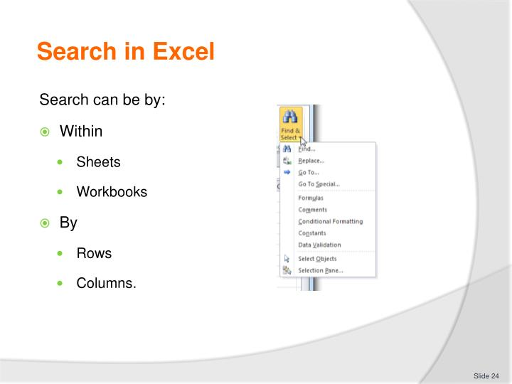 Search in Excel