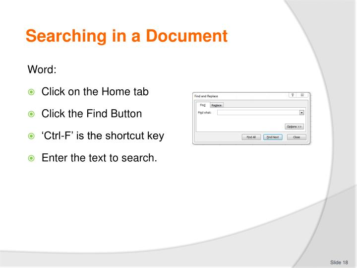 Searching in a Document