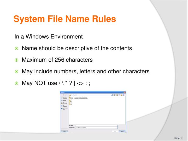 System File Name Rules