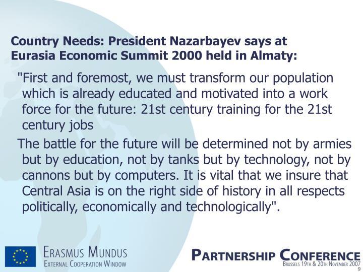 Country Needs: President Nazarbayev says at Eurasia Economic Summit 2000 held in Almaty: