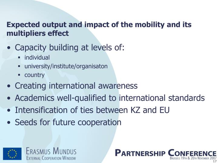 Expected output and impact of the mobility and its multipliers effect