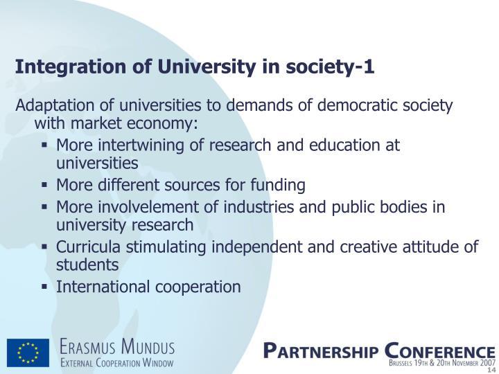 Integration of University in society-1