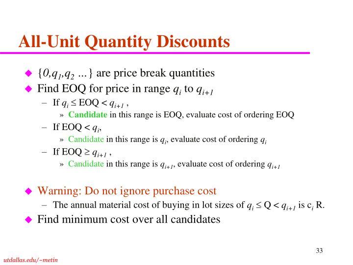 All-Unit Quantity Discounts