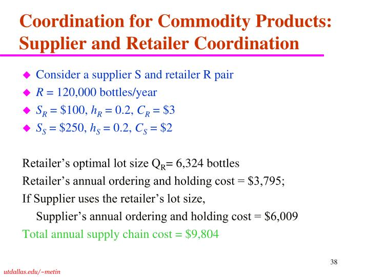 Coordination for Commodity Products: