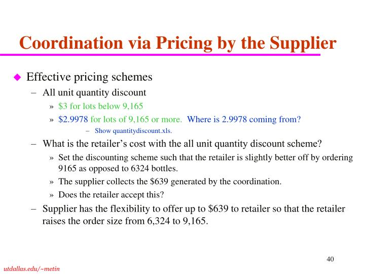 Coordination via Pricing by the Supplier