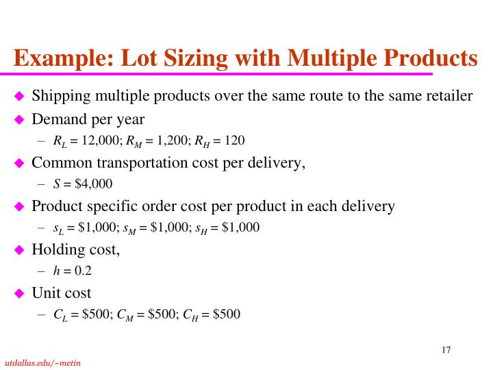 Example: Lot Sizing with Multiple Products