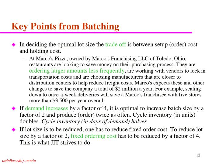 Key Points from Batching