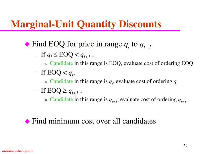 Marginal-Unit Quantity Discounts