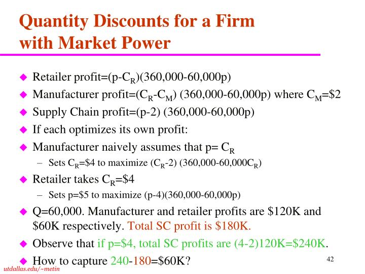 Quantity Discounts for a Firm