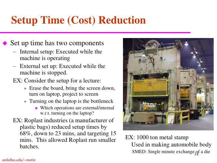 Setup Time (Cost) Reduction
