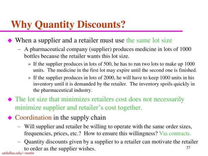 Why Quantity Discounts?