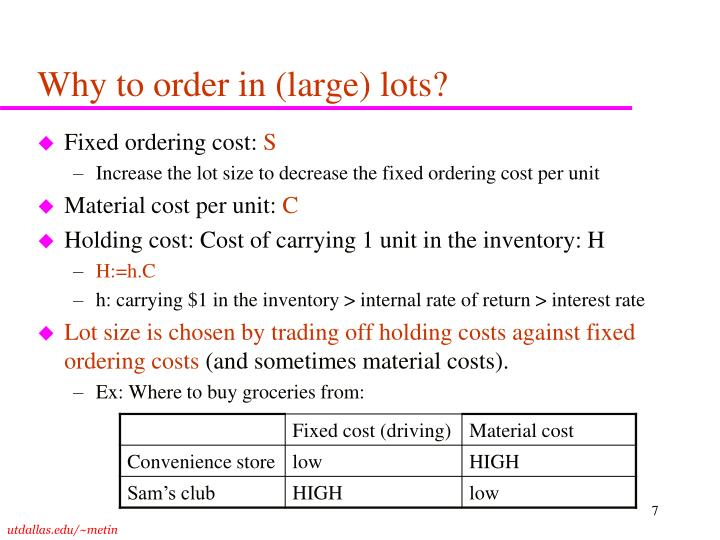 Why to order in (large) lots?
