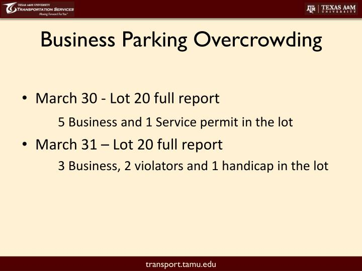Business Parking Overcrowding