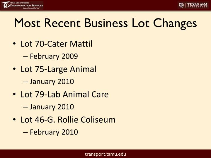 Most Recent Business Lot Changes