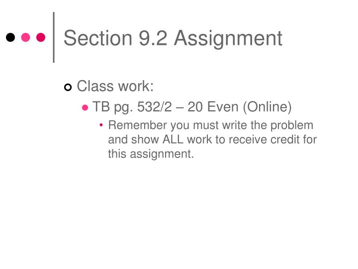 Section 9.2 Assignment