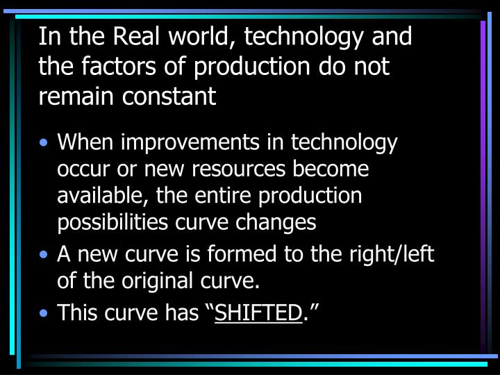 In the Real world, technology and the factors of production do not remain constant
