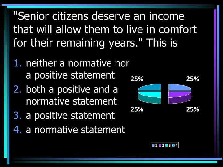 """Senior citizens deserve an income that will allow them to live in comfort for their remaining years."" This is"