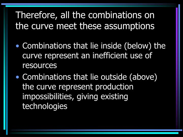 Therefore, all the combinations on the curve meet these assumptions