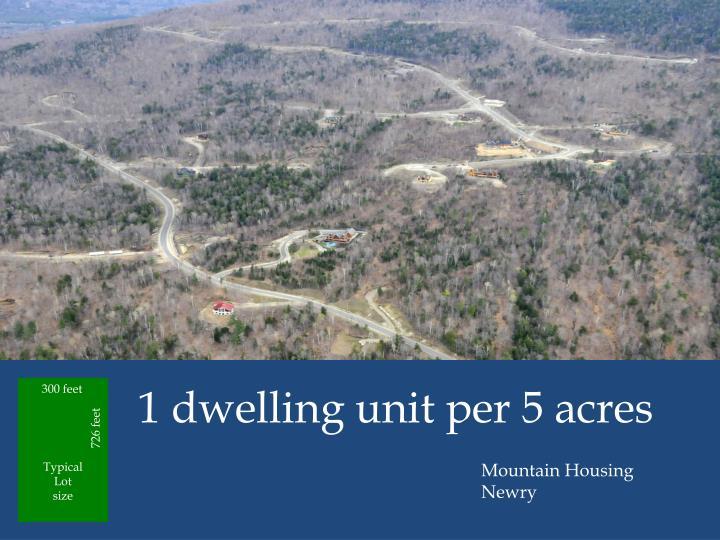 1 dwelling unit per 5 acres