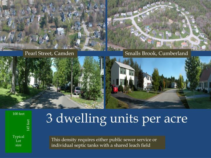 3 dwelling units per acre