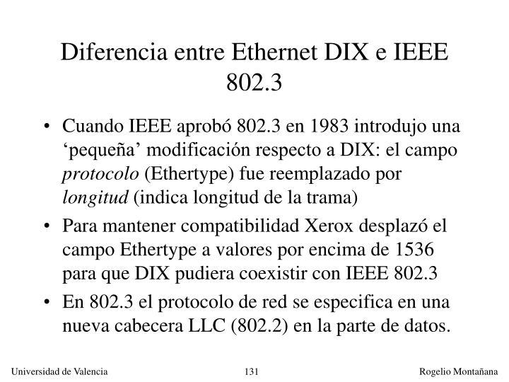 Diferencia entre Ethernet DIX e IEEE 802.3