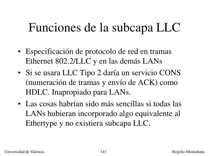 Funciones de la subcapa LLC